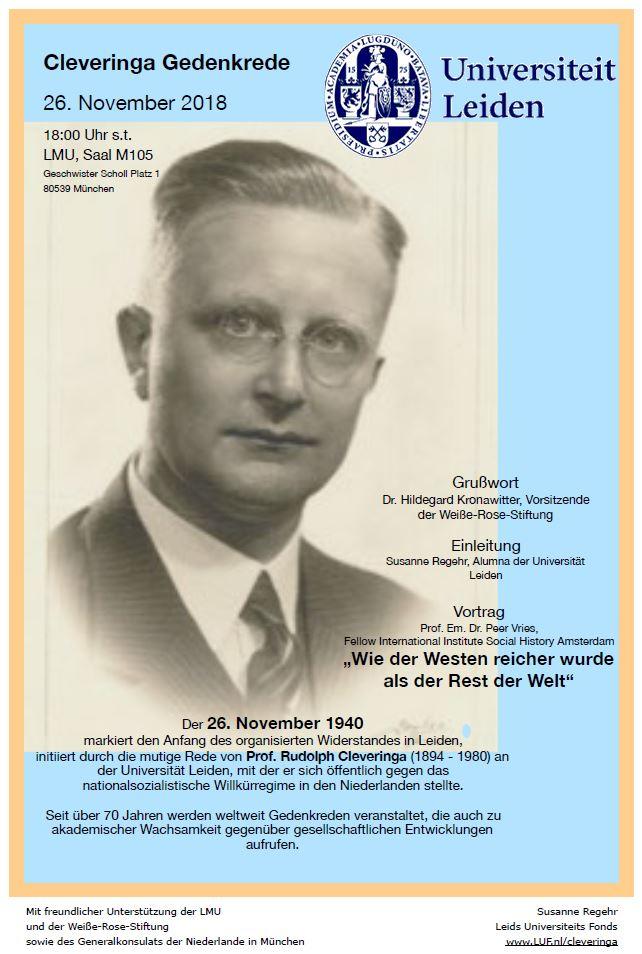 Einladung zur ersten Münchner Cleveringa Gedenkrede mit Vortrag von Prof. Peer Vries  am 26. November 2018 in der LMU