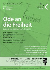 """Flyer zur Veranstaltung """"Ode an die Freiheit"""" am 16. November 2019, Große Aula der LMU München"""