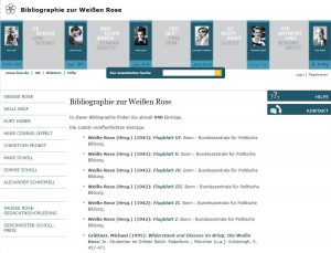 Das Bild zeigt die Startseite von https://weisse-rose.ub.uni-muenchen.de/