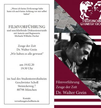 """Vorführung der Filmdokumentation """"Zeuge der Zeit: Dr. Walter Grein"""""""