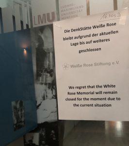 DenkStätte Weiße Rose bis auf weiteres geschlossen (16. März 2020)