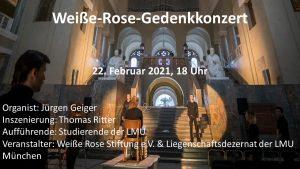Weiße Rose Gedenkkonzert live online am 22. Februar 2021 ab 18 Uhr